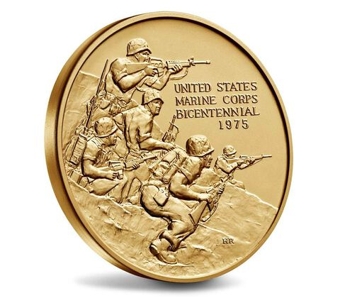 U.S. Marine Corps Bicentennial Bronze Medal 3 Inch,  image 3