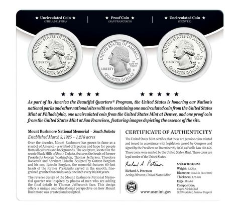 Mount Rushmore National Memorial 2013 Quarter, 3-Coin Set,  image 2