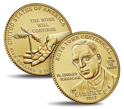Boys Town Centennial 2017 Uncirculated $5 Gold Coin,  image 3