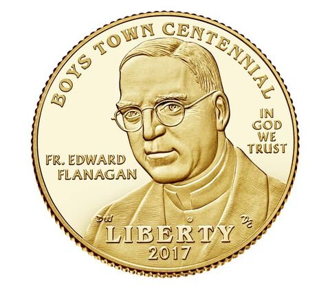 Boys Town Centennial 2017 Proof $5 Gold Coin
