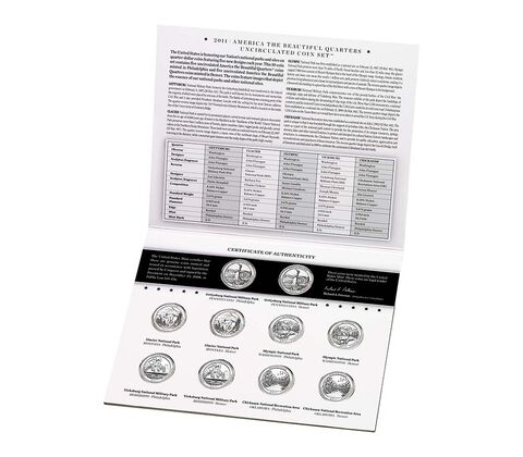 America the Beautiful 2011 Quarters Uncirculated Coin Set,  image 1