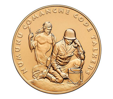 Comanche Nation Tribe Code Talkers Bronze Medal 1.5 Inch,  image 1