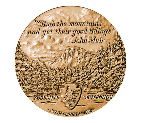 Yosemite National Park Centennial Bronze Medal 3 Inch,  image 2