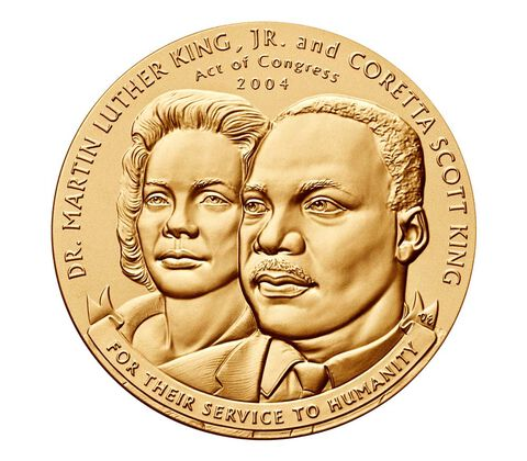 Dr. Martin Luther King, Jr. and Coretta Scott King Bronze Medal 3 inch,  image 1