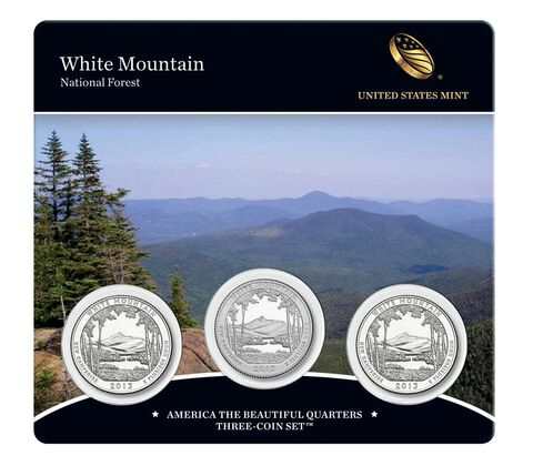 White Mountain National Forest 2013 Quarter, 3-Coin Set
