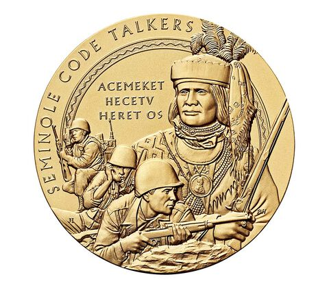Seminole Nation Code Talkers Bronze Medal 1.5 Inch,  image 1