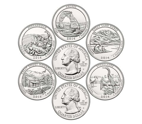 America the Beautiful Quarters 2014 Circulating Coin Set, image 2