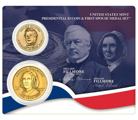 Millard Fillmore 2010 Presidential One Dollar Coin & First Spouse Medal Set