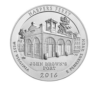 Harpers Ferry National Historical Park 2016 Uncirculated Five Ounce Silver Coin