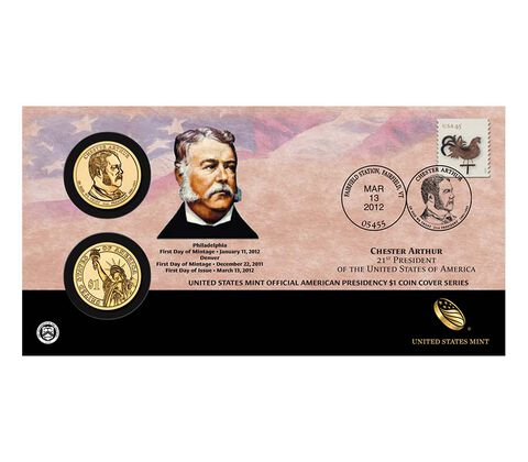 Chester Arthur 2012 One Dollar Coin Cover