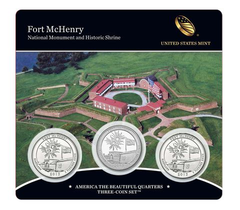 Fort McHenry National Monument and Historic Shrine 2013 Quarter, 3-Coin Set