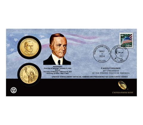 Calvin Coolidge 2014 One Dollar Coin Cover,  image 1