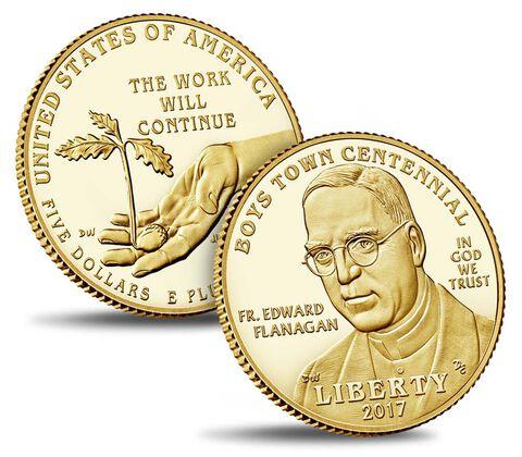 Boys Town Centennial 2017 Proof $5 Gold Coin,  image 3