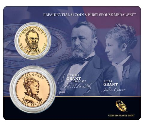 Ulysses S. Grant 2011 Presidential One Dollar Coin & First Spouse Medal Set