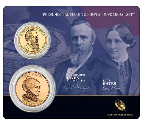 Rutherford B. Hayes 2011 Presidential One Dollar Coin & First Spouse Medal Set