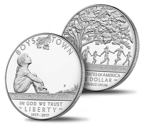 Boys Town Centennial 2017 Proof Silver Dollar,  image 3
