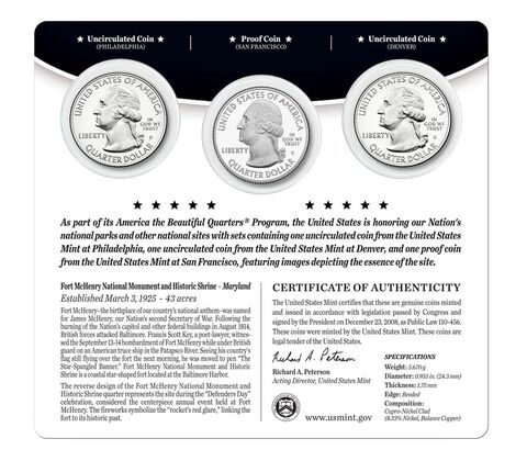 Fort McHenry National Monument and Historic Shrine 2013 Quarter, 3-Coin Set,  image 2