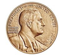 Franklin D. Roosevelt Bronze Medal 1 5/16 Inch