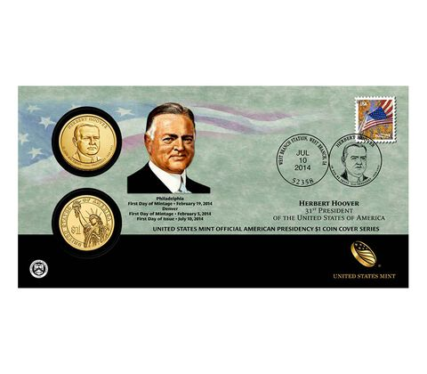 Herbert Hoover 2014 One Dollar Coin Cover,  image 1