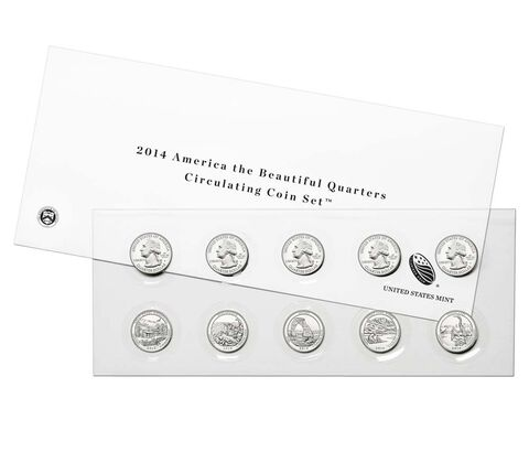 America the Beautiful Quarters 2014 Circulating Coin Set, image 1
