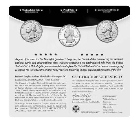 Frederick Douglass National Historic Site 2017 Quarter, 3-Coin Set,  image 2