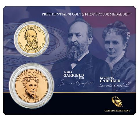 James Garfield 2011 Presidential One Dollar Coin & First Spouse Medal Set