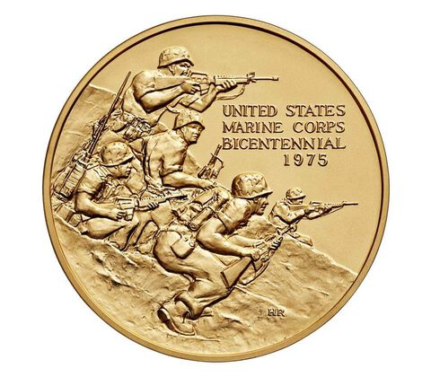 U.S. Marine Corps Bicentennial Bronze Medal 3 Inch,  image 1