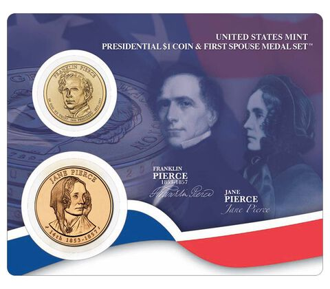 Franklin Pierce 2010 Presidential One Dollar Coin & First Spouse Medal Set