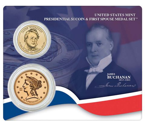 James Buchanan 2010 Presidential One Dollar Coin & First Spouse Medal Set