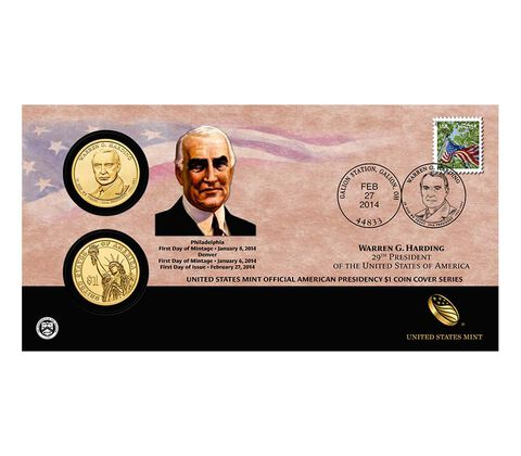Warren G. Harding 2014 One Dollar Coin Cover,  image 1