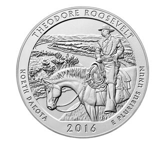 Theodore Roosevelt National Park 2016 Uncirculated Five Ounce Silver Coin