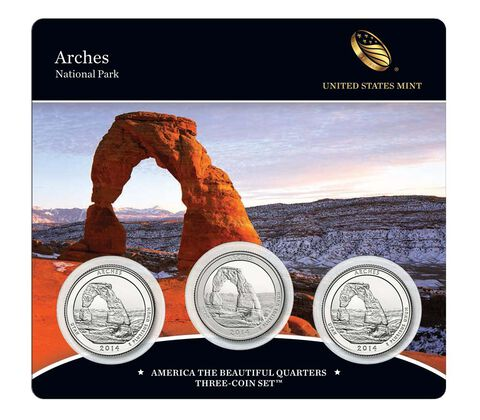Arches National Park 2014 Quarter, 3-Coin Set,  image 1