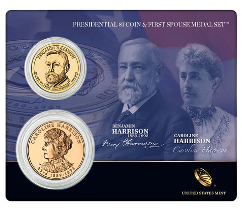 Benjamin Harrison 2012 Presidential One Dollar Coin & First Spouse Medal Set