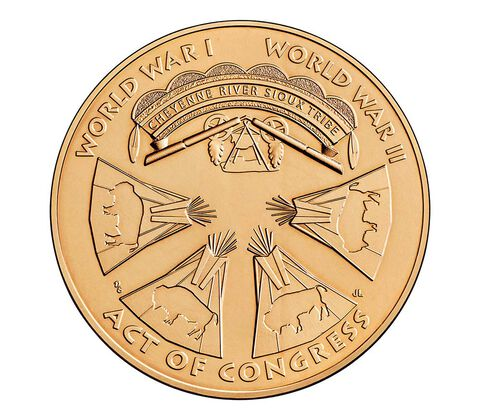 Cheyenne River Sioux Tribe Code Talkers Bronze Medal 1.5 Inch,  image 2