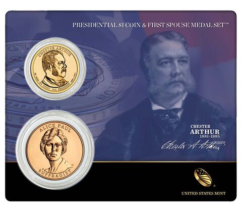 Chester Arthur 2012 Presidential One Dollar Coin & First Spouse Medal Set