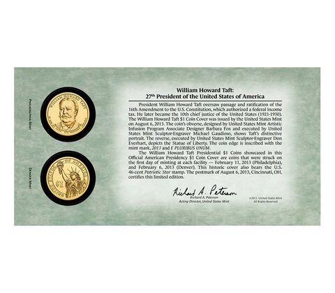 William Howard Taft 2013 One Dollar Coin Cover,  image 2