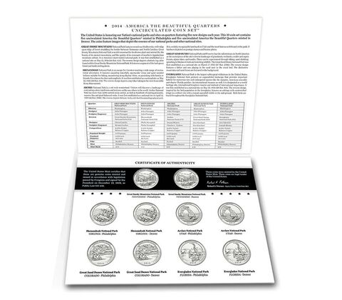 America the Beautiful 2014 Quarters Uncirculated Coin Set