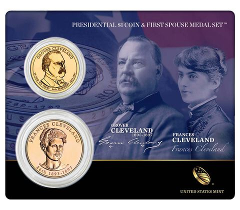 Grover Cleveland (Second Term) 2012 Presidential One Dollar Coin & First Spouse Medal Set