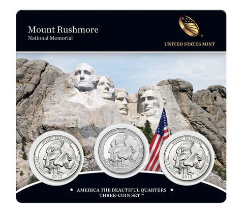 Mount Rushmore National Memorial 2013 Quarter, 3-Coin Set