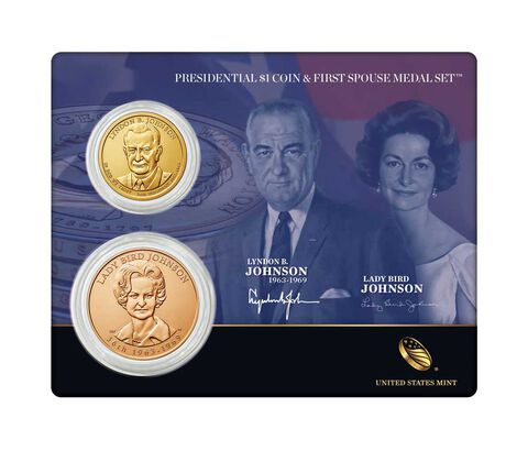 Lyndon B. Johnson 2015 Presidential $1 Coin & First Spouse Medal Set