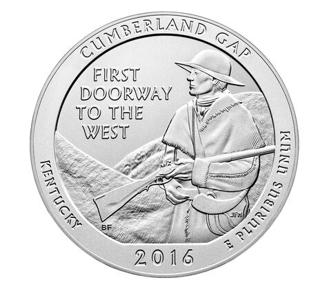 Cumberland Gap National Historical Park 2016 Uncirculated Five Ounce Silver Coin