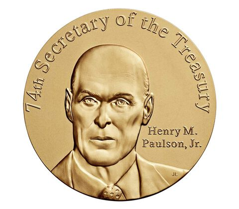 Henry M. Paulson, Jr. Secretary of the Treasury Bronze Medal 3 Inch,  image 1