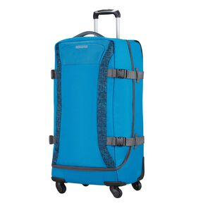 American Tourister Road Quest Spinner Duffle Large in the color Blue Star Print.