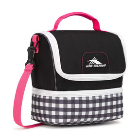 High Sierra Lunch Packs Double-Decker in the color Black/Gingham/Flamingo/White.