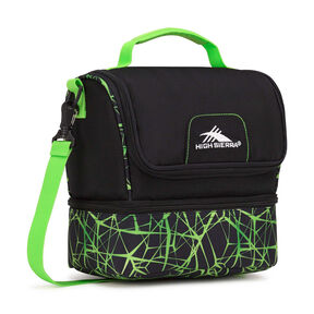 High Sierra Lunch Packs Double-Decker in the color Black/Digital Web/Lime.