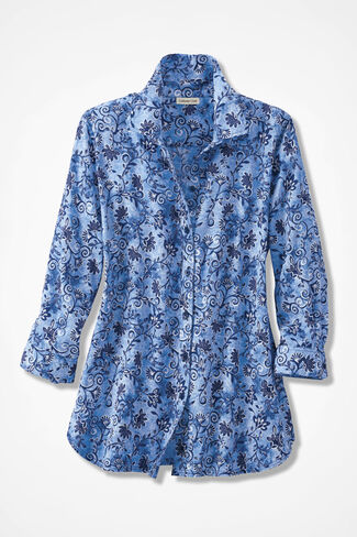 Floral Swirls Three-Quarter Sleeve Easy Care Shirt, India Ink, large