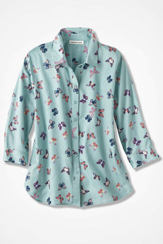 Watercolor Butterflies Easy Care 3/4 Shirt, Clearwater, large