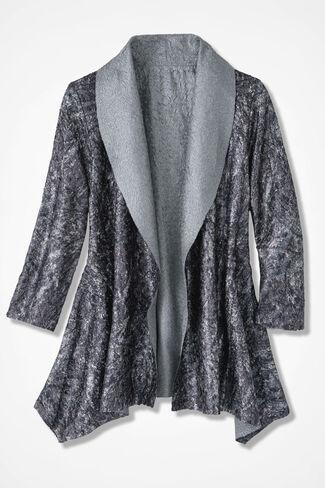 Abstract Flourish Crinkle Jacket, Black Multi, large