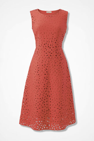 Peeking Petals Fit-and-Flare Dress, Coral Rose, large
