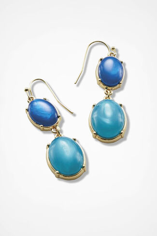 Colorful Cabochon Earrings, Cerulean, large